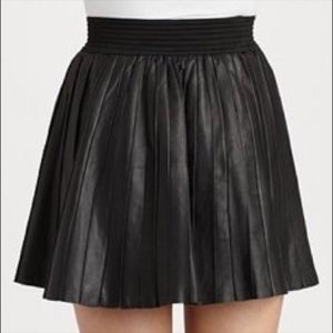 Pleated Leather Mini Skirt by Parker